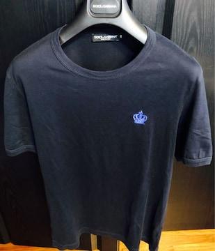 美品ドルチェ&ガッバーナD&GシャツTクラウン46ネイビー半袖ss紺