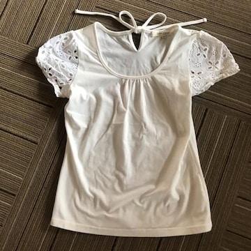 肩レースTシャツ☆ホワイト☆M