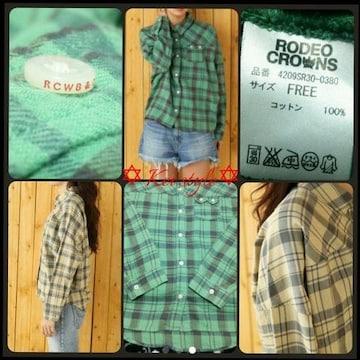 RODEO CROWNS 2トーン チェックシャツ ドルマン