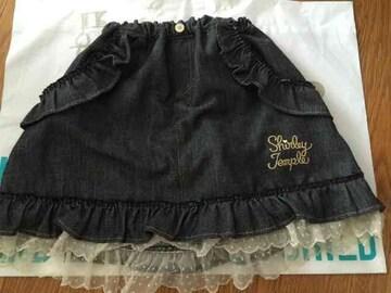 シャーリーテンプル☆裾レース デニムスカート☆140cm☆美品☆