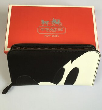 COACH 財布 コーチ54000サイフレザーのラウンドZIP長財布