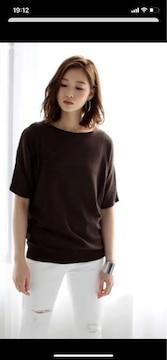 アズールバイマウジーブラウンサマーニット半袖M半袖Tシャツ