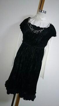 大きいサイズ★新品★パフ袖裾レースワンピース★LL★ブラック