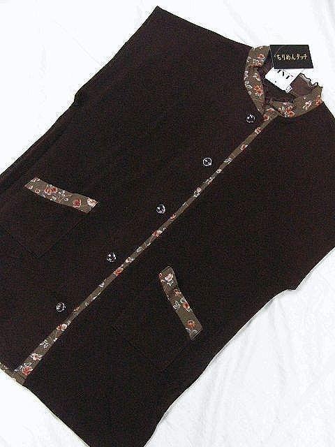 わけあり品  和柄のオシャレなベスト「ちりめんタッチ」 10101 < 女性ファッションの
