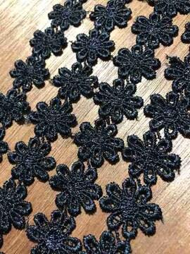 36個連<マーガレット>フラワーケミカルレースマーガレット(ブラック)