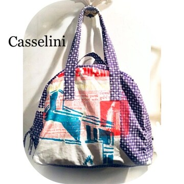 Casselini*特大サイズ*インド新聞プリント*ボストンバッグ
