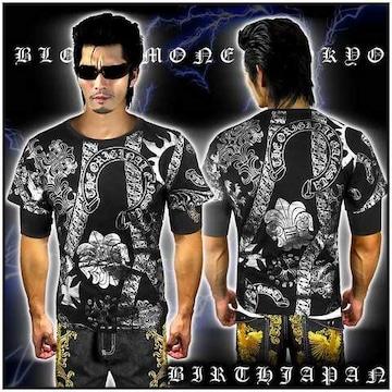 送料込ヤクザオラオラ系ブランド半袖Tシャツ/悪羅悪羅系服/クロス/13009黒2-L