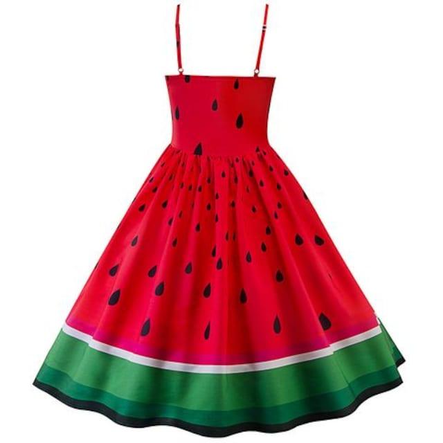 新品大きいサイズLL〜3L可愛いスイカ西瓜ドレスワンピース < 女性ファッションの
