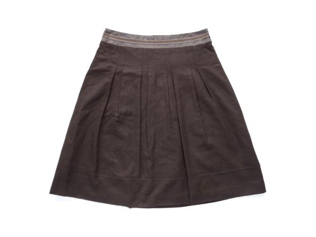 23区 茶 膝丈 フレア スカート 40 L  < ブランドの