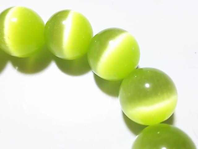 天然石★キャッツアイ(グリーン)ラウンド12mm 半連