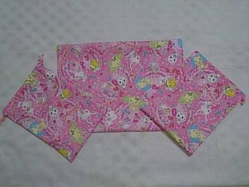 特価 ◆ ジュエルペット  90A 巾着2枚 &ランチマット  (^O^)3点セット