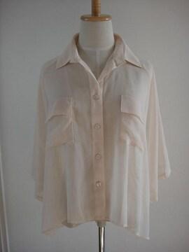 未使用★ROYAL PARTY/ロイヤルパーティー ドルマン風 シフォン バックレース のシャツ