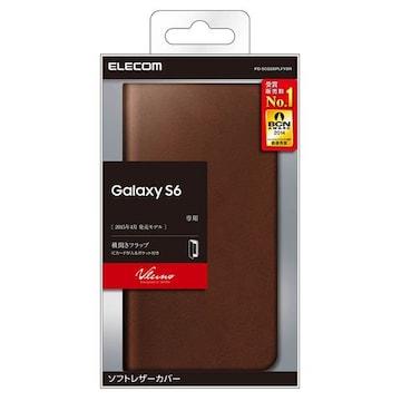 docomo GALAXY S6 SC-05G用ソフトレザーカバー ブラウン