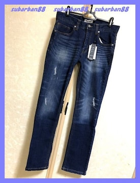 ☆nylaus jeans☆新品ストレッチクラッシュスキニーデニム紺79