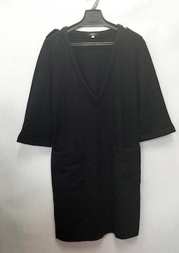 ボッシュワンピース七分袖ブラック黒ニットレディース38