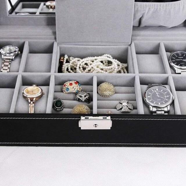 ジュエリーボックス 鍵付き 腕時計収納 8本 < 男性アクセサリー/時計の
