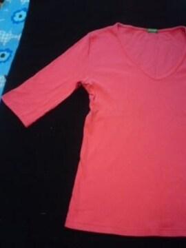 ベネトンショッキングピンク5分丈Tシャツ 美品激安アゲハ