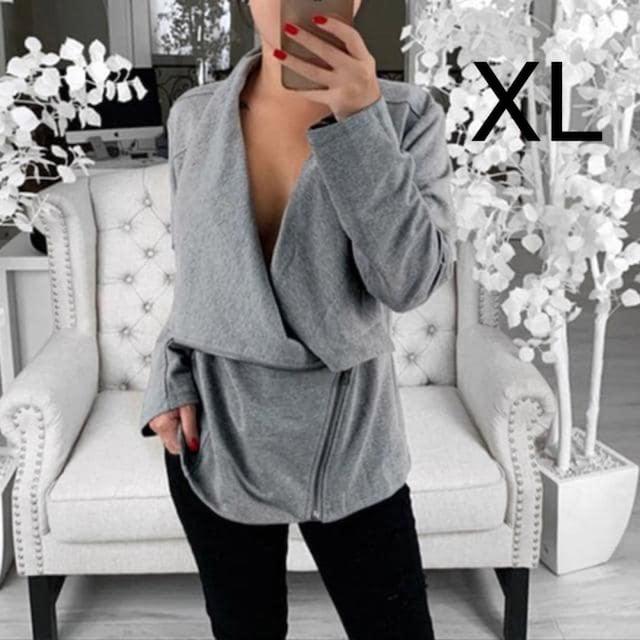 新品☆シンプル♪ななめジップ付きジャケット グレー XL  < 女性ファッションの