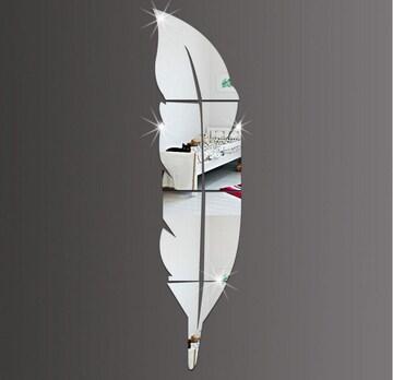 鏡 インテリア ミラーウォール 羽根型 割れない鏡