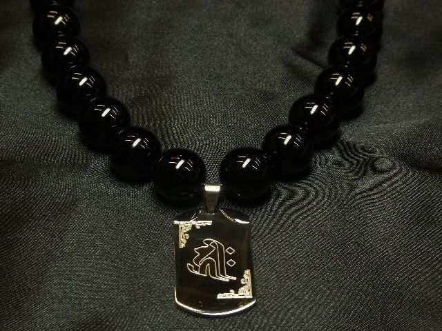 梵字彫ドッグタグ×ブラックオニキス数珠ネックレス!!オラオラ系アイテム < 男性アクセサリー/時計の