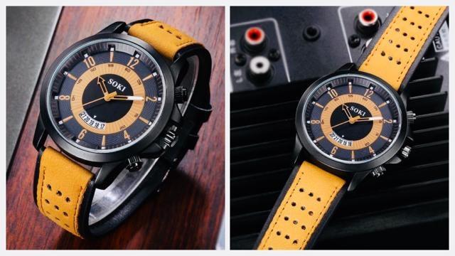 腕時計 ツートン アナログ メンズ カレンダー 時計 レザー 黄