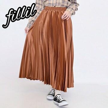 【Fillil】サテンプリーツロングスカート/金茶