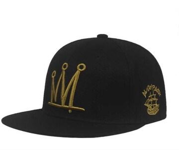 王冠 クラウン ゴールド 刺繍 スナップバック キャップ