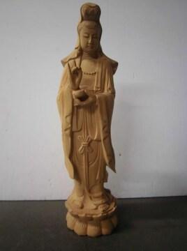 大特価スタート価格!秀作の逸品 木彫り観音 高さ約29�p