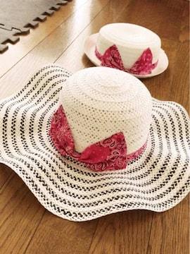 白に黒フレアピンクバンダナデカリボンゴム付き麦わら女優帽子