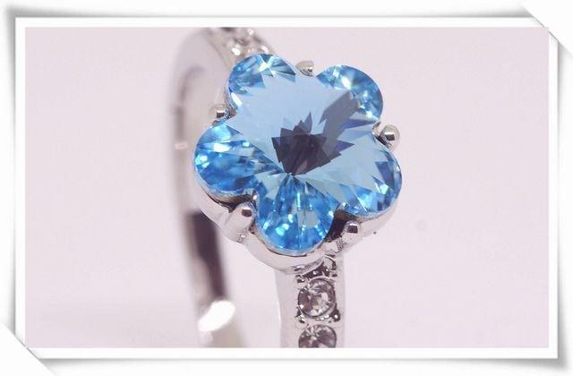 指輪 18K RGP ブルー 彩石 フラワー リング yu1103e < 女性アクセサリー/時計の
