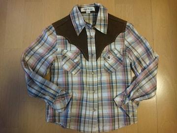 長袖ブラウス/ブラウン系チェック柄シャツ/Tシャツの上に上着としても♪サイズ130�p