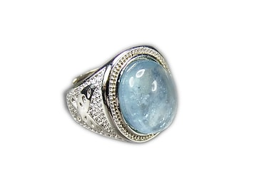 透明シラー効果有アクアマリン指輪20.5号AAA天然石石街U0267