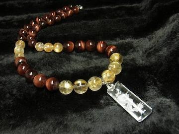 高級オラオラ数珠 浮彫龍水晶プレート レッドタイガー タイチンルチルネックレス