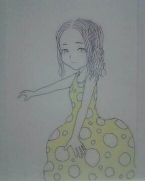 オリジナルイラスト 手描きイラスト 水玉のワンピース 女の子ハンドメイド原画絵インテリア