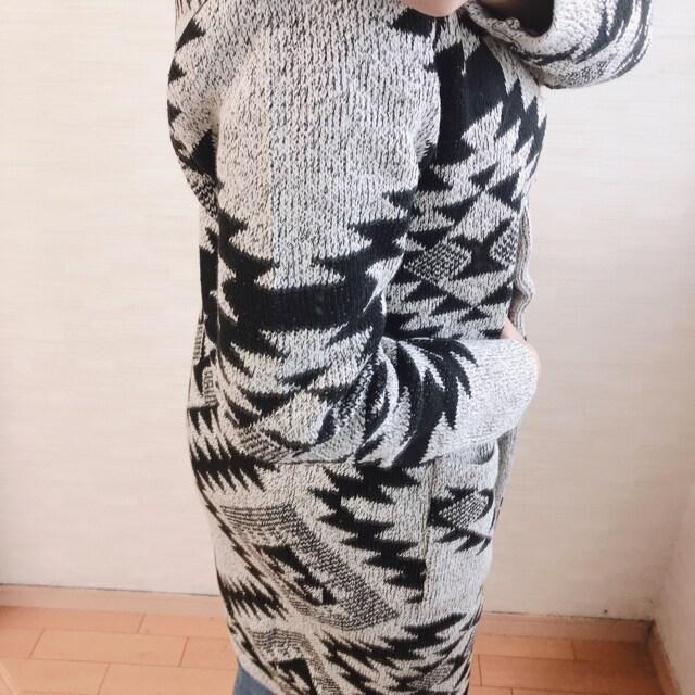 新作大人気完売!雑誌掲載!オルテガ柄!厚手ニットコ-ト!カワイイ!