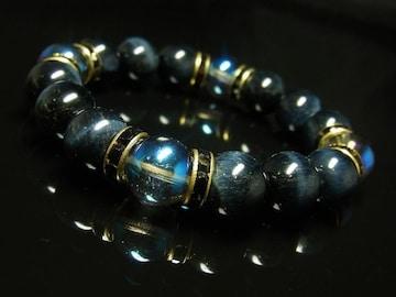 開運招来パワーストーン ブルーオーラ ブルータイガーアイブレスレット 12ミリ数珠