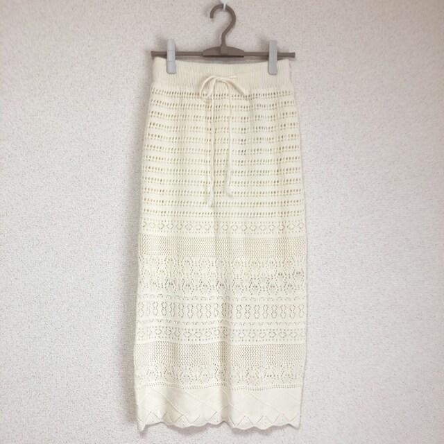 新品タグ付き 膝下シースルー、鍵編みタイトマキシスカート●  < 女性ファッションの