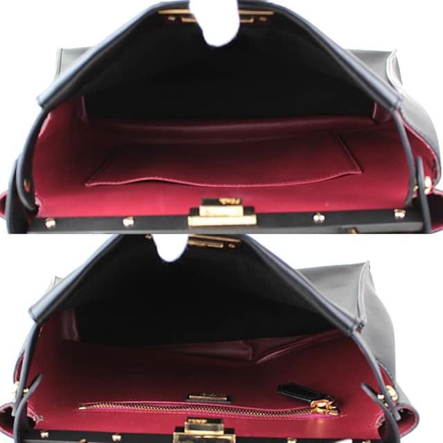 フェンディ ピーカブー トートバッグ カーフ ブラック 8BN290 極美品 k538 < ブランドの