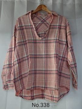 No.338 送料込 ピンクチェック柄 被りシャツ M