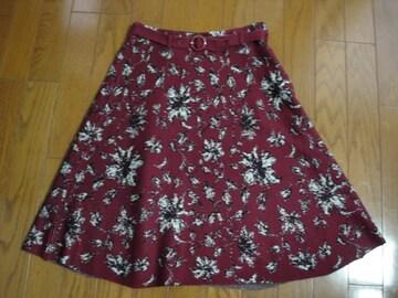 フェルウ Feroux  大人かわいい花柄スカート★ベルト付 新品