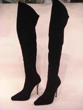 ブラックs/ストレッチ 12cmメタル・ヒール トンガリ・ニーハイ M
