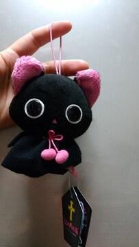 """新品★てるてる坊主みたいな「黒猫""""にゃんぱいあ""""」ゴム紐付!"""