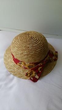 ベビー用 麦わら帽子  size48 花柄リボン付き