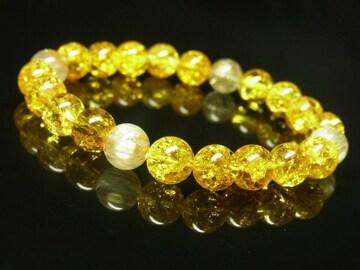 最強金運数珠 タイチンルチル×シトリンクラックブレスレット 8ミリ パワーストーン