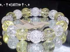 天然石★12ミリイエロークラック水晶&爆裂クラック水晶数珠