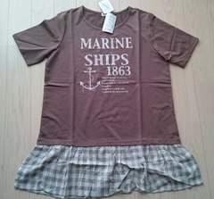 LL★切替Tシャツチュニックワンピース★ブラウン★新品★大きいサイズ
