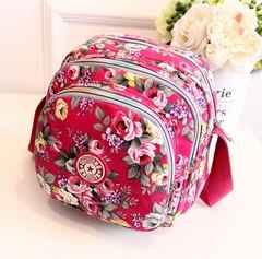 1円新品☆花柄フラワーローズ丸型ショルダーバッグ*桃ピンク