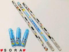 ディズニー【ミッキー】鉛筆3本×キャップ3個セット