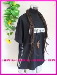 春夏新作◆大きいサイズ3Lブラック◆胸元&サイド英字◆チュニカットソー