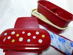 二段弁当箱ランチ和柄レンジ赤レッド小豆色入れ子収納コンパクト